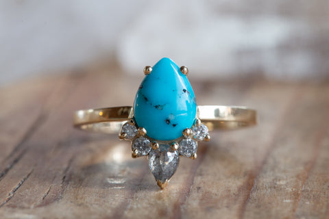 Sleeping Beauty Turquoise + Grey Diamond Engagement Ring