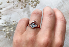 One Of A Kind Montana Sapphire Engagement Ring with Side Trillions