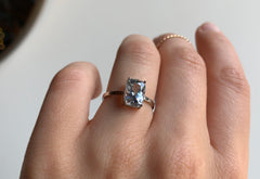 Cushion Cut Sky Blue Sapphire Solitaire Engagement Ring