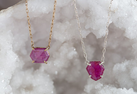 Geometric Rose Cut Ruby Necklace