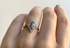 Step Cut Kite-Shaped Diamond Engagement Ring with Halo