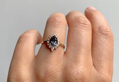 Dark Grey Spinel Engagement Ring with White Diamond Halo