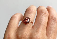 One Of A Kind Red Hexagon Diamond Engagement Ring
