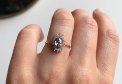 One Of A Kind Salt + Pepper Hexagon Engagement Ring with Marquis Halo