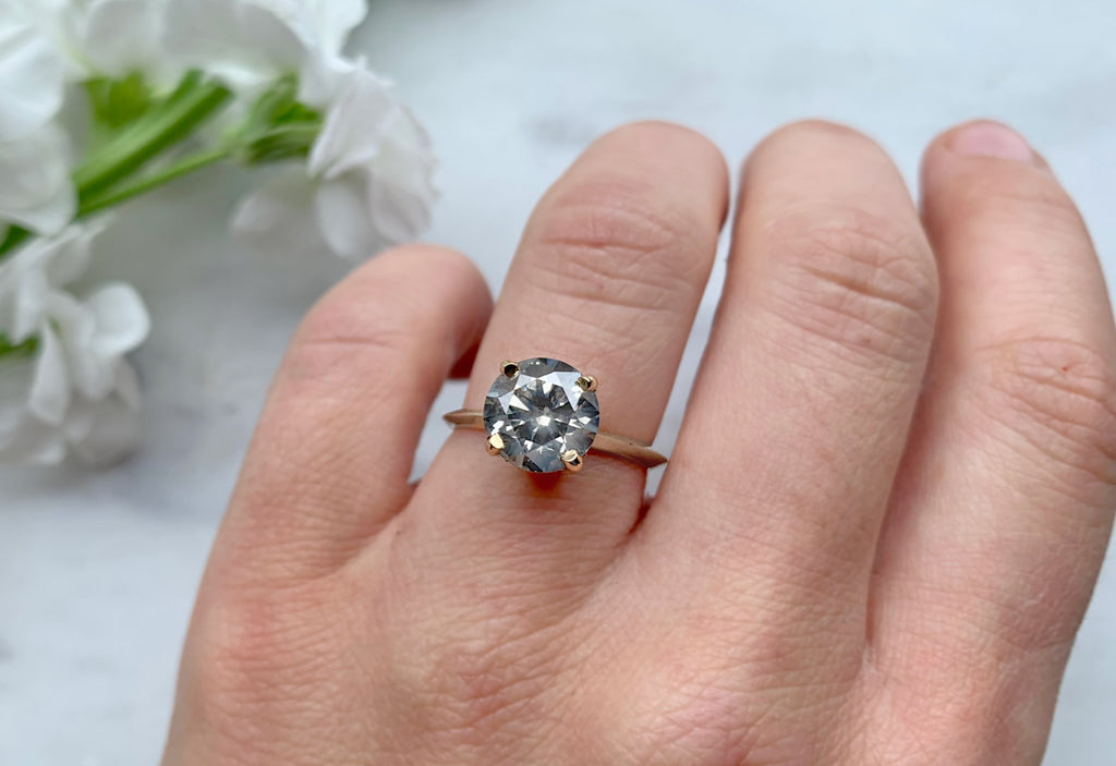 Large Grey Diamond Solitaire Engagement Ring With Pave Basket Setting Alexis Russell