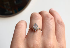 Rose Cut Opalescent Diamond Engagement Ring with Geometric Sunburst