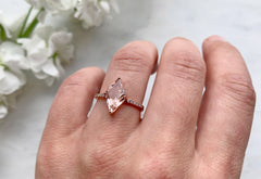 One of a Kind Geometric Morganite Engagement Ring with Pavé Diamond Band