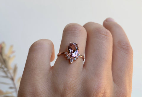One of a Kind Dusty Rose Tanzanite Engagement Ring with Diamond Sunburst