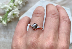 Black + White Hexagon Diamond Engagment Ring with side trillions