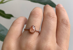 Rose Cut Red Diamond Engagement Ring with Pavé Band