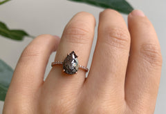Large Rose Cut Black Diamond Engagement Ring with Pavé Band