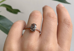 Oval Cut Black Diamond Engagement Ring with Pavé Band