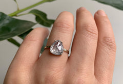 Large Rose Cut Opalescent Salt + Pepper Diamond Engagement Ring