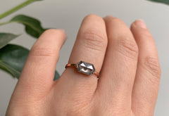 Grey Salt + Pepper Hexagon Diamond Engagement Ring