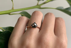 Shield Cut Black Diamond Engagement Ring with Knife Edge Band