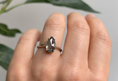 Rose Cut Salt + Pepper Diamond Engagement Ring with Knife Edge Band