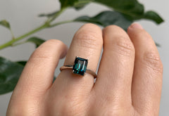 Emerald Cut Sapphire Engagement Ring with Knife Edge Band