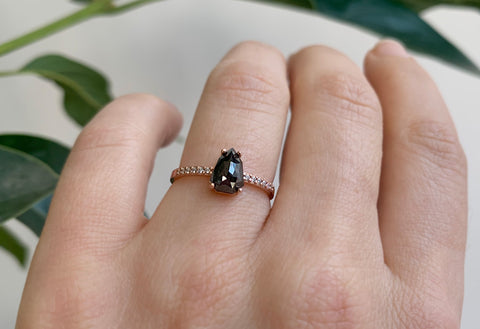 Rose Cut Geometric Black Diamond Engagement Ring with Pavé Band