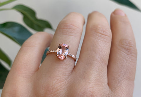Oval Cut Pink Sapphire Engagement Ring with Pavé Band