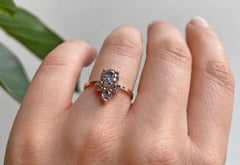 Round Cut Salt + Pepper Diamond Engagement Ring with Attached Sapphire + Diamond Sunburst