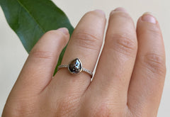 Rose Cut Black Diamond Engagement Ring with Pavé Band