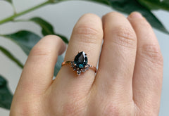 Teal Montana Sapphire Engagement Ring with Grey Diamond Sunburst