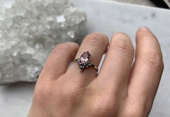Pink Morganite Engagement Ring with Black + White Diamond Sunburst