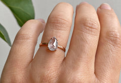 One Of A Kind Rose Cut Icy-White Engagement Ring