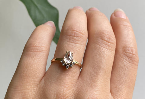Rose Cut Icy White Diamond Engagement Ring with Attached Sunburst