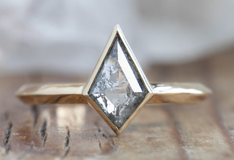 Kite-Shaped Salt + Pepper Diamond Engagement Ring with Knife Edge Band