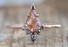 Kite-Shaped Sunstone Engagement Ring with Attached Diamond Sunburst