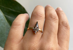 Kite-Shaped Salt + Pepper Diamond Engagement Ring with Attached Sunburst