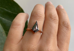 Kite Shaped Salt + Pepper Diamond Engagement Ring with Knife Edge Band