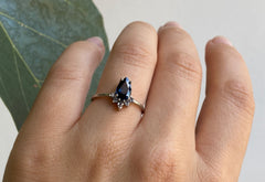 Pear Cut Sapphire Engagement Ring with Attached Diamond Sunburst