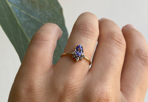 Pear Cut Tanzanite Engagement Ring with Attached Diamond Sunburst