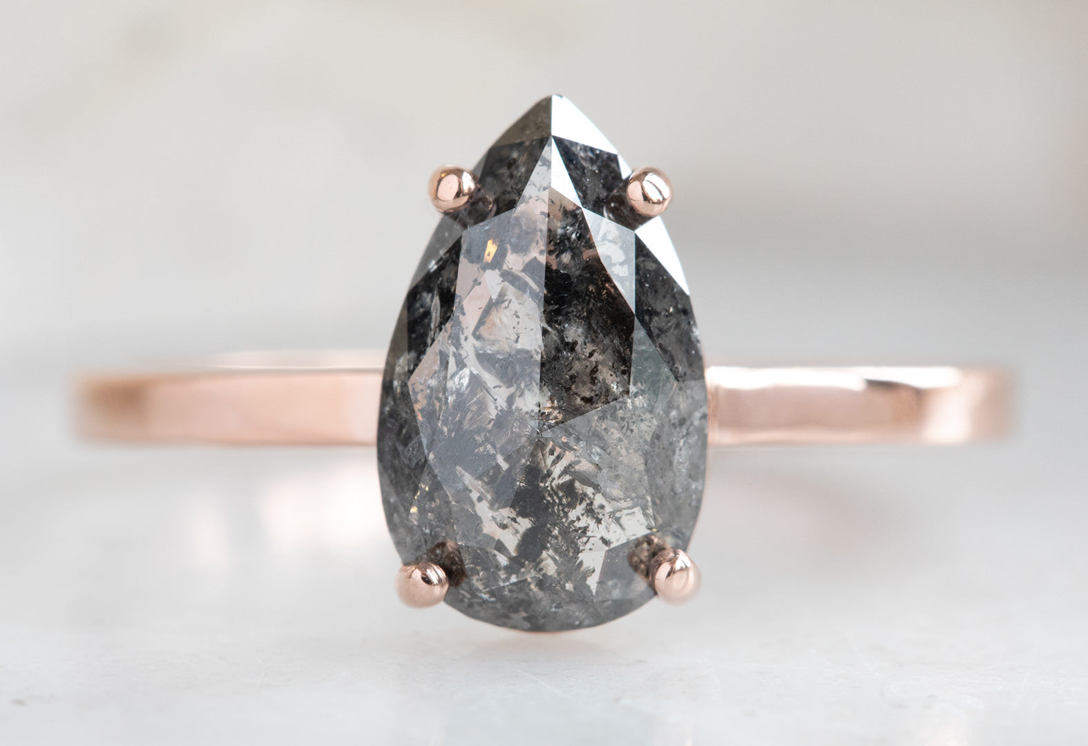 Rose Cut Black Diamond Engagement Ring