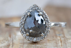 Rose Cut Black Diamond Engagement Ring with Halo