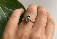Rose Cut Salt + Pepper Diamond Engagement Rings with Knife Edge Band