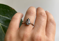 Rose Cut Black Diamond Engagement Ring with Knife Edge Band