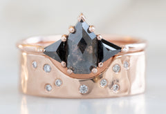 Three Stone Geometric Black Diamond Engagement Ring