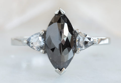 Three-Stone Black & White Marquise Diamond Engagement Ring