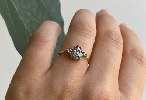 Three Stone Geometric Salt + Pepper Diamond Engagement Ring