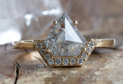 One of a Kind Shield-Cut Diamond Engagement Ring with Half Halo