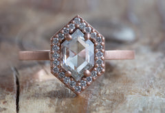 One of a Kind White Rose Cut Hexagon Diamond Ring with Pavé Halo