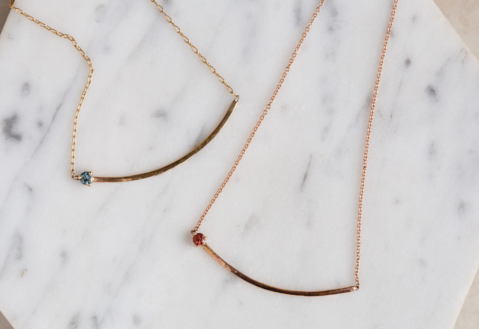 Gemstone Arc Necklace
