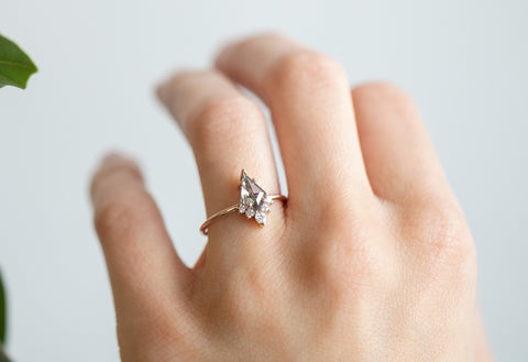 The Aster Ring with a Salt & Pepper Kite Diamond