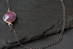 Asymmetrical Ruby Gemstone Necklace