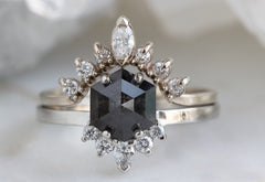 The Aster Ring with a Black Hexagon Diamond