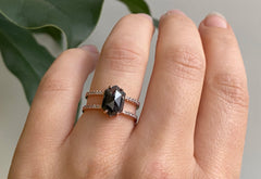 The Poppy Ring with a Black Hexagon Diamond