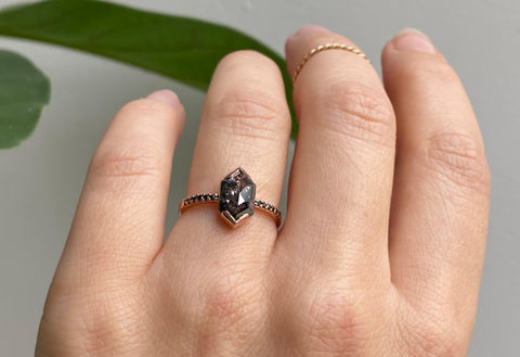 The Willow Ring with a Salt & Pepper Hexagon Diamond